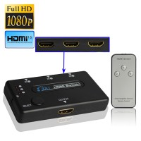 HDMI Switch 3 Port Amplifier 1080P 1.3 Version with Remote Controller - Hitam