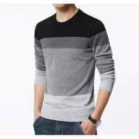 Sweater Rajut O-Neck / Mens Casual Style / Striped