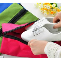 Simple Outdoor Traveling Waterproof Nylon Shoe Bag / Tas Sepatu - Pink