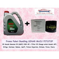 PROMO Paket Bundling Oli Suzuki Genuine Oil SGO 10W-40 & Filter Oli Suzuki Baleno Swift Esteem Forsa