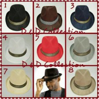 D & D Hat Collection Topi Fedora Jazz / Tompi Dewasa Motif Polos