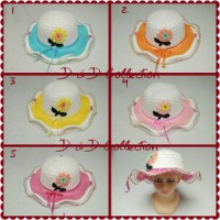 D & D Hat Collection Topi Pantai Anak Gambar Bunga