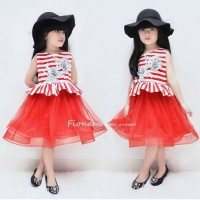 Dress kizzu stripe blossom kids original import Sz S, M, L, XL, XXL (2-7y)