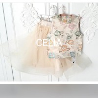 SETELAN / STELAN / SET PEONY CREME TOP KIDS ORIGINAL IMPORT PREMIUM QUALITY