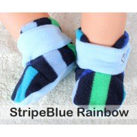 CUDDLE ME FITTED BABY BOOTIES - STRIPE BLUE RAINBOW