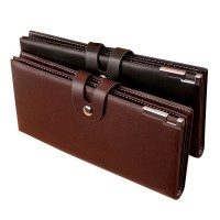 Men Long Section Button Bifold Business Leather Wallet Card Coin Wallet Purse