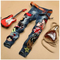 [globalbuy] Mens Patchwork Denim Blue Jeans Locomotive Pants Embroidery Beauty Badge Cool /4203424