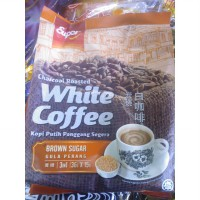 Super White Coffee Charcoal Roasted Brown Sugar Kopi Putih Panggang 15sachet