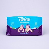 Twins Baby Wipes Fresh and Clean 50s