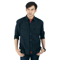 Raindoz Kemeja Kasual RHRx046 Full Black