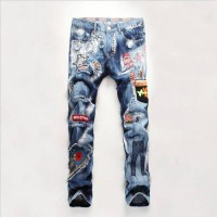 [globalbuy] Casual Personality Badge Holes Jeans Men Straight Leg Fashion Brand Biker Jean/4201537