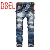 [globalbuy] T964 Dsel Brand Hole Jeans For Men Denim White Button Jeans Logo Trousers Qual/4201369