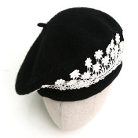 H758 beret black lace flower decoration