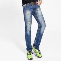 [globalbuy] Famous Logo Dsel Brand Men`s Jeans Straight Denim Blue Ripped Jeans Men Trouse/4200719