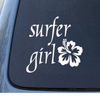 [poledit] SURFER GIRL Hawaiian Tropical - Car, Truck, Notebook, Vinyl Decal Sticker #1163 /5835246