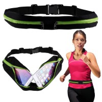 Green Waterproof Sport Belt Single Pocket Tas Pinggang Sabuk Gesper Anti Air