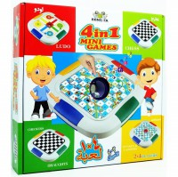 Board Game 4in1 Mini Games: Chess, Ludo, Checkers, Snake and Ladders