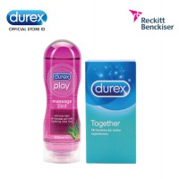 Durex Play Massage 2in1 Bottle 200 ML Plus Durex Kondom Together isi 12