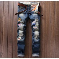 [globalbuy] European American style Mens jeans brand casual badge denim trousers ripped je/4198980