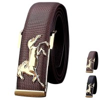 Gold Horse Leisure Leather Strap Business Men's Belt Metal Buckles Belt