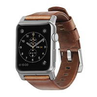 Nomad Horween Leather Strap for Apple Watch 42MM - Modern Build - Silver Hardware