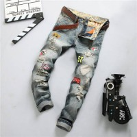 [globalbuy] Personality Badge Patchwork Jeans Men destroyed Jeans Fashion Brand Biker Jean/4196572