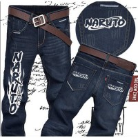[globalbuy] Anime Naruto Cosplay Jeans Men Straight Mid Pants Classic logo Men Trousers Si/4196127