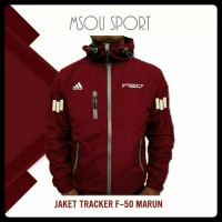Jaket Tracker Waterproof Windbreaker Adidas F-50 Maroon
