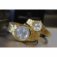 Jam Tangan Couple Jonas Jasmin JJ-2027 Gold Plat White Original