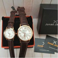 Jam Tangan Couple Jonas Jasmin JJ-2060 Rosegold Leather Brown Original