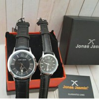 Jam Tangan Couple Jonas Jasmin JJ-2060 Silver Leather Black Original