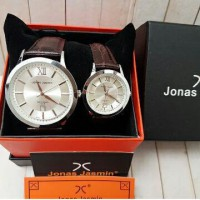 Jam Tangan Couple Jonas Jasmin JJ-2060 Silver Leather Brown Original