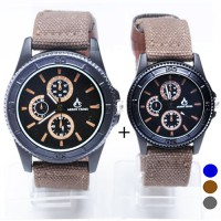 [1+1] = 2pcs JAM COUPLE 2pcs KANVAS STRAP Jam Tangan 4 Warna (FIN-18CP)
