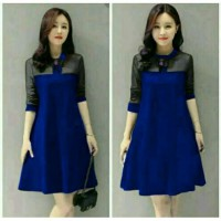 Dress Vira bahan Jersey Kombinasi tile fit L