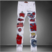 [globalbuy] 2016 new arrive spring autumn fashion white badge men straight hole jeans casu/4194253