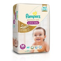 Pampers Popok Premium Care Active Baby Tape - M 40