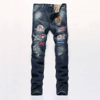 [globalbuy] Personality Badge Patchwork Jeans Men Ripped Jeans Fashion Scratched Biker Jea/4193356