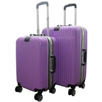 DJ Fashion Newest 24'' & 22 '' Trolley Luggage, Travel Luggage Suitcase Set - Ungu