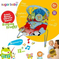 SUGAR BABY DELUXE MUSICAL VIBRATION BOUNCER KURSI MAINAN BAYI 1 RECLINE POSITIONS Singing Fro