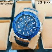 Jam Tangan Guess Round Leather Blue Bezel Blue Limited Mewah