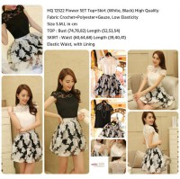 Flower SET Top+Skirt (WHITE/BLACK size S,M,L)-12522
