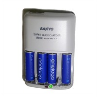 Sanyo 1 Hour Super Quick Charger Ni-MH Plus 4 AA Eneloop Batteries