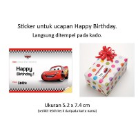 Cars. Sticker Label ucapan Happy Birthday tempel kado goodie bag ultah