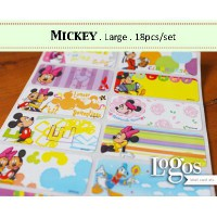 Mickey LARGE Label nama waterproof Sticker miki minnie mouse clubhouse