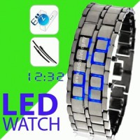 LED WATCH SILVER WITH BLUE LIGHT