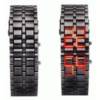 LED WATCH BLACK WITH RED LIGHT