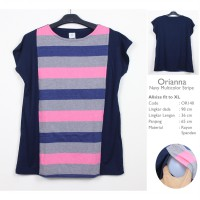 Just Mom Baju Menyusui Orianna 140 Navy Multicolor Stripe