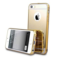 Case Iphone 5C Bumper Metal + Back Case Sliding - Gold