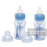 Dr. Browns Natural Flow 2-Pack Wide Neck Bottles - 8oz/240ml Blue with Level one Silicone Nipple
