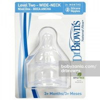Dr. Browns Wide Neck Silicone Nipple 2 Pack - Level 2 (3m+)
